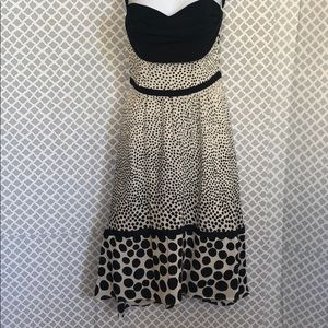 Christopher Deane dotted 100% Silk strapless dress